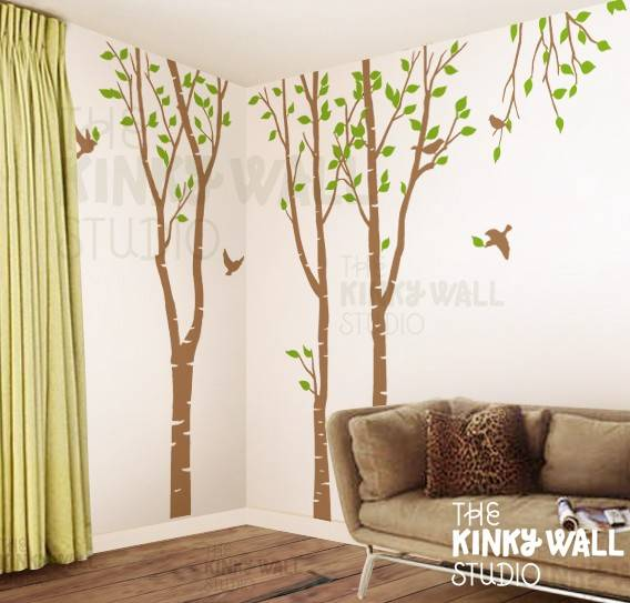 20 awesome stickers to put on your wall for Birch tree mural